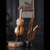 Wholesale home bar ornaments resale online - Creative vintage Violin saxophone home decoration Antique Imitation Nostalgia room Ornament Craft Home Office Bar Decor Ornament
