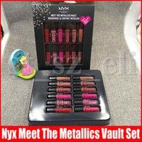 lábios nyx venda por atacado-NYX maquiagem profissional se encontram os metálicos saltar Decouvrez le coffret metalics 12pcs macio mate creme labial conjunto nyx gloss 12 * 4,7 mL