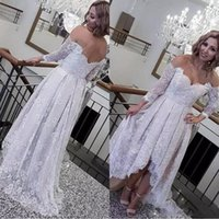 Wholesale off white long lace dress for sale - Group buy 2019 Sexy Off The Shoulder Long Sleeves Bridal Gowns Low Back Beach Wedding Vestidos Cheap Custom Made Retro Lace High Low Wedding Dress