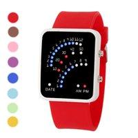 relojes de estilo japonés al por mayor-Nuevo Unisex LED reloj de los deportes de las mujeres para hombre de estilo japonés LED multicolor banda de silicona reloj de pulsera deportivo reloj del calendario de hombres Niños