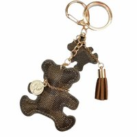 Wholesale valentine ornaments resale online - Cute Tassel Faux Leather Bear Keychain Bear Key Ring Women Backpack Ornament Valentine Gift New Chic Pendant