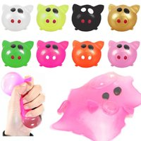 Wholesale anti stress toys resale online - Anti stress Decompression Splat Water Ball Vent Toy Colorful Pig Head Water Ball Squeezing Toys Funny Kids MMA2851