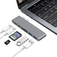 tipo c hub al por mayor-dongle concentrador de tipo de adaptador multipuerto C USB con 4K doble puerto USB 3.0 SD / lector de tarjetas TF convertidor para MacBook