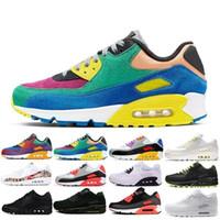 top yastıklı koşu ayakkabıları toptan satış-Toptan Moda Erkekler Sneakers Klasik 90 Erkekler ve kadınlar Koşu Ayakkabı Spor Eğitmeni Yastık 90 Yüzey Nefes Spor Ayakkabıları Ayakkabı