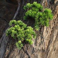 ingrosso piante di pino-42CM ramo di pino plastica artificiale piante verdi rami di pino falso per Home Office Deor pianta decorativa