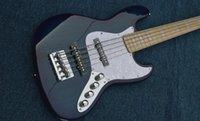 bateria baixa ativa venda por atacado-Personalizado de corda 5 Ash corpo Precision Marcus Miller Assinatura Trans Dark Blue Jazz Guitarra baixa elétrica ativos Pickups bateria de 9V bordo Neck