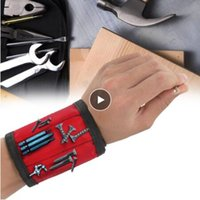 nägelhalter groihandel-1pcs Magnetic Wristband Hand Wraps Tool Bag Adjustable Electrician Wrist Screws Nails Drill Holder Belt Bracelet for Home Repair