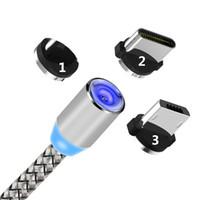 led cable оптовых-3 в 1 Зарядное устройство с магнитным всасыванием LED Нейлон Более прочный металлический магнитный шнур 1M Android Micro USB Тип C кабель для Samsung Huawei android