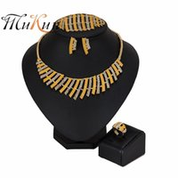 свадебные ювелирные изделия оптовых-MUKUN 2019 Bridal Gift Nigerian Wedding  Fashion African   Jewelry Set Dubai Gold ColorJewelry Set Women customer