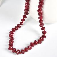 colares chineses vermelhos venda por atacado-Brilhante chinês pedra natural vermelho 20 polegada colar requintado 5 * 8mm red jujube projeto moda feminina corda colar
