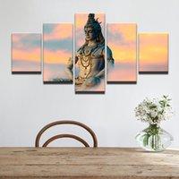 indien malerei großhandel-Moderne Dekoration Wandkunst Bilder Great India Gottheiten Gott Siva Leinwand Malerei Für Wohnzimmer Modulare Poster Kein Rahmen