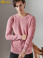 suéter de algodón negro al por mayor-MuLS Birdseye Sweater Pullover Hombres Cotton Knit Spring Sweater Jumpers Otoño prendas de punto para hombre Rosa Negro 2019 Venta caliente Dropshipping