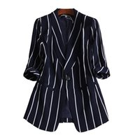 kadın ceketler ücretsiz gönderim toptan satış-Kadınlar Küçük Takım Dikey Çizgili Takım Elbise Rahat Üstleri Kadın Uzun Kollu Ceket L-5XL ücretsiz kargo