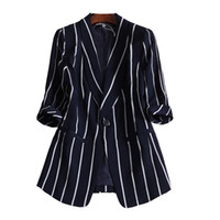 ingrosso giacche femminili trasporto libero-Rivestimento L-5XL della manica lunga femminile delle parti superiori casuali del vestito a strisce verticale del piccolo vestito delle donne trasporto libero