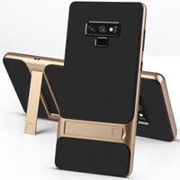 téléphone portable achat en gros de-Support Téléphone Stand pour Samsung Galaxy Note 8 9 S10 S9 S8 Plus Hard PC Soft TPU Antichoc Ultra Slim Couverture Arrière