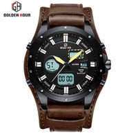 Wholesale watch military army automatic resale online - Top Brand GOLDENHOUR Sport Leather Men Watch Relogio Hombre Automatic Waterproof Quartz Male Clock Army Military Wrist Watches