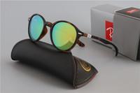 Wholesale ray band sun glasses resale online - 50MM Glass Lens Fashion Sunglasses RAYS Vintage Men Women Justin Brand Sun Glasses Bands BAIN BEN Mirror Gafas de sol BANS cases
