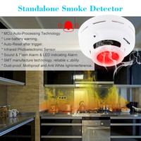 yangın güvenlik alarmı toptan satış-Akıllı Kablosuz Duman Dedektörü MCU Teknolojisi Yangın Alarm Sensörü Ev Güvenlik için Yüksek Hassas Kararlı