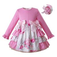 Wholesale flowers england online - Pettigirl Pink Spring Kids Dress Dots And Flower Girl Dress For Girls Boutique Kids Clothing G DMGD110 B449