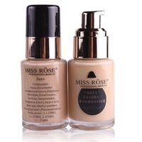 Wholesale oil free foundations resale online - Miss Rose ML Makeup Liquid Foundation Cream Nutritious colors Flawless Coverage Oil Free Concealer Cream Base maquiagem DHL