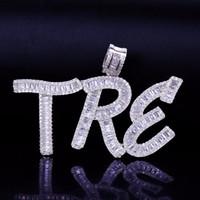 ingrosso catene nome per-Collana di pendente delle lettere delle baguette di nome su ordinazione hip-hop con la catena libera della corda Gioielli d'argento del pendente degli uomini di zirconia di Bling dell'oro
