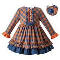 Wholesale orange girls clothes for sale - Group buy Pettigirl Spring Girl Plaid Princess Dress toddler girl designer Double Layer Vintage Vestidos Clothing Kids Dress G DMGD110 B434