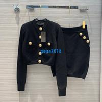 cardigan à manches courtes achat en gros de-haut de gamme femmes filles robe en tricot jacquard cardigan chandail simple boutonnage manches longues veste moulante jupe courte costume de mode