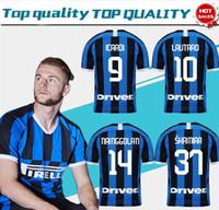 camisas novas do clube venda por atacado-2019 Inter home futebol camisa # 9 ICARDI # 14 NAINGGOLAN novo 19/20 futebol de manga curta uniformes de futebol clube da liga personalizar vendas