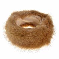 weiße ohrmuscheln großhandel-2018 Mode Kunstpelz Stirnband Winter Ohrwärmer Muffs Schwarz Weiß Natur für Frauen Mädchen Dame