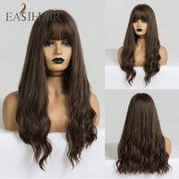 Easihair Lange Brown Perücken Mit Bangs Synthetische Perücken Für Schwarze Frauen Glueless Wellig Cosplay High Temperature Natural Hair Wig