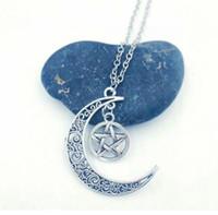 colgante de luna antiguo al por mayor-Hot Crescent Moon / Witchcraft Pentagram Charms Colgantes Collares Para Mujeres Hombres Joyería de Regalo de Plata Antigua Wicca Pagan - 39