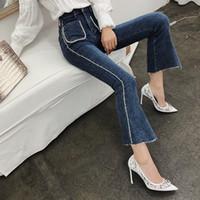 ingrosso coreano moda pantaloni donne-Liste Patchwork donne dei jeans Fronti Pockets a vita alta in denim Pantaloni Flare femminile coreano della molla della moda di New
