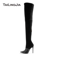 Wholesale large size thigh boots for sale - Group buy Women s High Heel Pointed Toe Black Over the Knee Thigh High Boots Ladies Camel Stretch Suede Spring Autumn Shoes Large Size