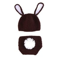 Wholesale diaper cover hat sets resale online - Newborn Easter Bunny Outfit Handmade Crochet Baby Boy Girl Coffee Rabbit Hat with Ears and Diaper Cover Set Infant Animal Photo Prop