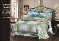 освещенный люкс оптовых-Синий роскошный комплект постельных принадлежностей Queen King size Bed set пододеяльник постельное белье / простыня наволочка couvre lit De luxe dekbedovertrek