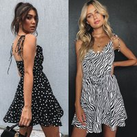 mulheres vestido cebra venda por atacado-Ins hot mulheres vestidos de chiffon sexy zebra-stripe pontos cinta de espaguete slip dress decote em v profundo cintura corda mulheres roupas 2019 verão