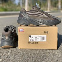 Wholesale athletic shoes size 47 resale online - Cement V2 Wave Runner Kanye West Running Shoes M Designer Chocolate Glow In Dark Basf Athletic Sports Trainers Size