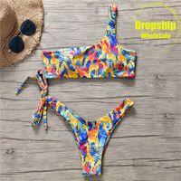süße badeanzug-set großhandel-2019 niedlich giraffe bikini set frauen sexy micro gedruckt bikinis eine schulter top tanga boden sommer badeanzug drücken badebekleidung