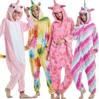 pyjama girafe adultes achat en gros de-Licorne Pegasus Giraffe Pyjamas Ensembles Unisexe Flanelle Point Pijamas Pour Femmes Vêtements De Nuit Pour Adultes Cosplay À Capuche Animal de Bande Dessinée