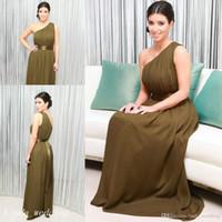 kardashian vestidos para ocasiones especiales al por mayor-Kim Kardashian vestido de noche verde oliva vestido de fiesta de ocasión especial de un hombro largo de alta calidad