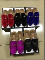 homens kaqui loafer sapatos venda por atacado-Designer de Chinelos De Pele Dos Homens Mocassins de couro Real Princetown Senhoras Mula Sapatos Mulheres Slides De Veludo