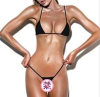 ingrosso swimwear mini stringa-2018 Sexy Micro Mini Bikini Set Donna Trasparente Swimwear Piccolo Bikini Set Brasiliano G-String Perizoma Biquinis Costume intero