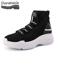 plattform schnüren sich an knöchel booties großhandel-DORATASIA INS Heißer Verkauf Elastische Papa Schuhe Frau Buchstaben lace-up Ankle Booties Frauen Hohe Plattform Sneakers Lässige Schuhe