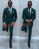 chaleco marfil al por mayor-Verde oscuro 2019 Hombres de negocios delgados trajes Trajes Novios Mejor hombre Novio Traje formal Trajes de esmoquin de boda Trajes de padrinos de boda (chaqueta + pantalones)