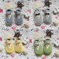 носки первого ходунки оптовых-детские бантом носки с 2 кнопками хлопок пол носки мягкая подошва новорожденных толстые носки дети первый ходунки обувь