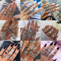 Wholesale elephant mix for sale - Group buy Vintage Bohemian Midi Finger Rings Set For women Beach Turtle Elephant Gemstone Crystal wedding Knuckle Rings Boho Fashion Jewelry in Bulk