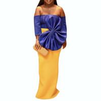 ingrosso grande bowtie giallo-2019 Donne Maxi Party Dress Sexy Big Bowtie Blu Giallo a contrasto di colore Abito elegante Backless Evening Bodycon Robes