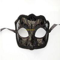 ingrosso sexy uomo mascherato sexy-300pcs Black Venice Masks Masquerade Party Mask Regalo di Natale Mardi Gras Man Costume Sexy pizzo con frange Gilter Donna Dance Mask