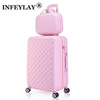 Wholesale spinner travel suitcase set resale online - 2PCS SET inch Cosmetic bag inches girl students Travel spinner luggage woman rolling suitcase Boarding box