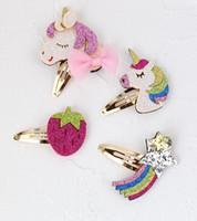 Wholesale baby hair designs online - Unicorn horse baby girls sequin hair clips strawberry rainbow design kids girl hair barrettes children boutiques hair accessories fashion